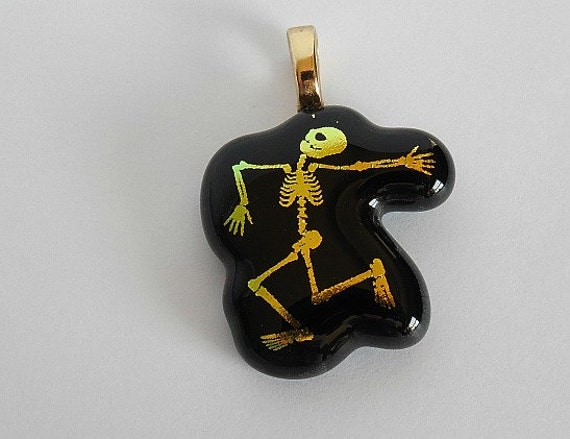 Dancing Skeleton Pendant fused glass