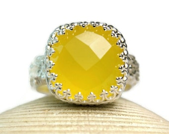 Yellow Chalcedony Ring, Sterling Silver, Cushion Cut Gemstone, Cocktail Ring, Fancy Bezel Setting