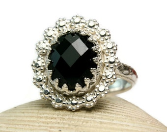Sterling Silver Black Onyx Ring, Rose Cut Natural Stone, Handmade Custom Jewelry, made to order