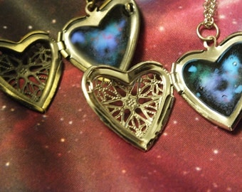 "Pewter or Brass Glow In The Dark ""You Are My Universe"" Galaxy Heart Shaped Locket Necklace"