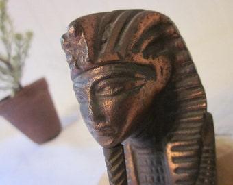King Tut Bust. Vintage Egyptian decor. Copper & Quartz. Paperweight, Objet d'art. Desk, office, library or home decor. Timeless classic