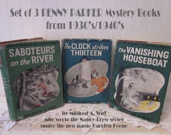 3 vintage Penny Parker Mystery Stories by Mildred A. Wirt, author of pen name Carolyn Keene Nancy Drew mysteries HC DJ. Collectible. Rare.