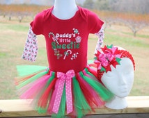 Christmas Daddy's Little Sweetie Onesie tutu dress combo size 6-9 months First Christmas free bow included