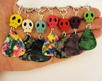 Guitar Pick Necklace Turquoise Skull You Choose