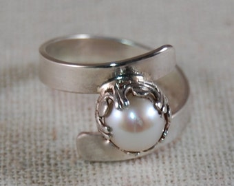 Sterling Silver Ring Freshwater Pearl Ring White Pearl Ring