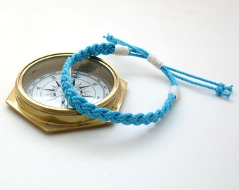 Summer Anklet Woven Turquoise Cotton Sailor Anklet