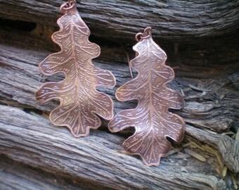 oak leaf earrings copper oak leaves etched metal leaves etched metal jewelry etched copper jewelry dangle earrings leaf jewelry metal