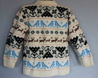 FREE SHIPPING Vintage Handmade Wool Sweater with Birds and Deer Design