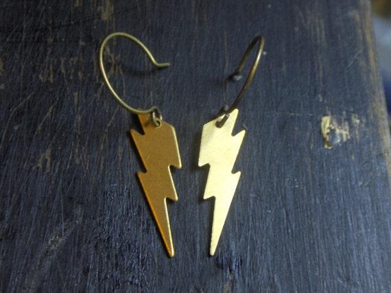 The  Lightning Bolt Earrings. God of lightning. Brass Lightning Bolt earrings.