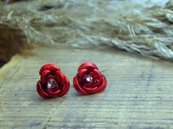 Rose Red And Twilight. Large Aluminum Rose Cabochon with Genuine Crystal center,  titanium post earrings