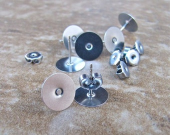 24 pcs 10mm Surgical Stainless Steel Flat-Pad Earring Posts and Backs jewelry findings supplies