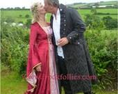 Chloe, a Renaissance,Elvish, Pagan  Wedding or Hand Fasting Dress in Burgundy and Pink.