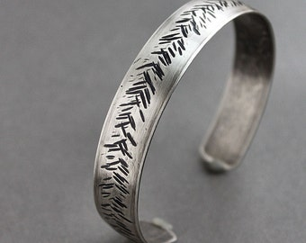 CLEARANCE Mens Rustic Silver Cuff Bracelet Hammered