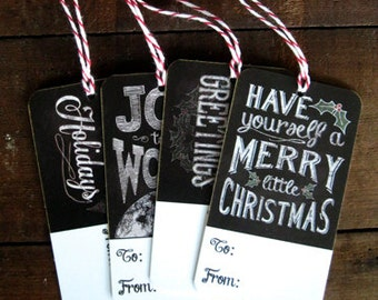 Chalk Art Christmas Tags for Gift Wrapping - set of 12 - chalkboard