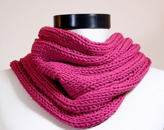 Old Rose Neckwarmer Cowl Hoodie With Pompoms