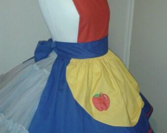 Snow White Apron Snow White Costume Apron Halloween Costume Apron Blue  Red Yellow Apple Applique Womens Medium