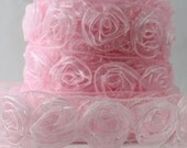 """Sheer Pink Rosette Ribbon 1.25"""" wide  Ribbon by the yard, Baby Girl, Sewing, Wedding, Costumes, Rosette Trim, Gift Wrapping,"""