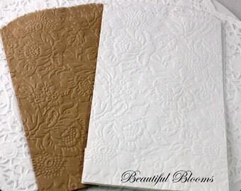 25 Floral Embossed Paper Bags, Glassine Bags, Brown Paper Bags, Wedding Favor Bags, Party Favor Bags, Candy Bags, Cookie Bags, Treat Bags