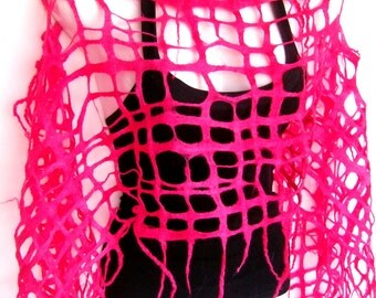 Felted Scarf, Lattice Lacy Scarf, Hot Pink, Fishnet, Merino Wool Felted Scarf, Gift For Her