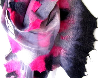 Nuno Felted Scarf, Ruffled, Wavy, Gray Pink Black, Silk Merino Wool Felted Wrap