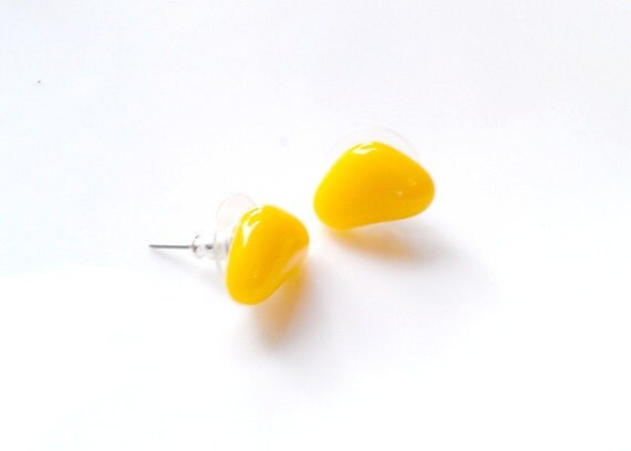 Yellow Stud Earrings, Post Earrings, Bright, Sunny, Summer Fashion, surgical steel post