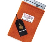 Orange Harris Tweed Kindle sleeve , made to fit any Kindle or e-reader