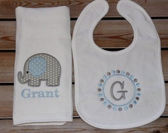 Personalized Monogram Bib and Burpcloth Elephant Set