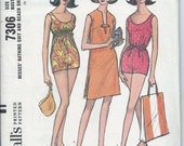 1960's McCalls Pattern No. 7306 - High Waisted Bathing Suit - Empire Bathing Suit with Beach Shift , Cover-up  Bust 34