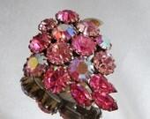 Vintage Rhinestone Grapes Brooch. Pink Aurora Borealis Rhinestones.