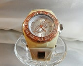 Vintage Rhinestone Watch. Women's Watch. White and Copper. Cici and Faye.