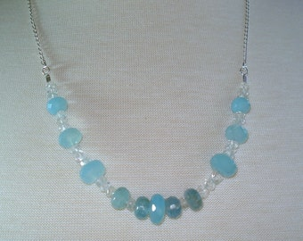 Chalcedony Necklace with Aqua Chalcedony, Aquamarine and Rock Crystal Quartz