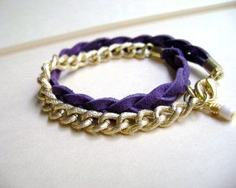 Stun - Double  wrap purple vegan leather and gold chain bracelet - MInimalist bracelet - everyday bracelet - modern urban jewelry