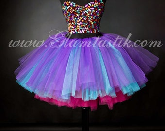 Custom Sizel pink turquoise and purple rhinestone Corset Prom dress with tulle skirting S-XL