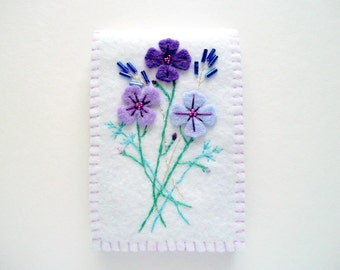 White Needle Book with Hand Embroidered Felt Flowers Hand Sewn
