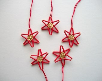 Red Star Ornaments Hand Beaded Christmas Tree Decoration Set of 5 Pieces