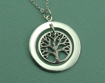 Circle of Life Tree Necklace - sterling silver necklace - tree jewelry - popular necklaces  - trendy necklace