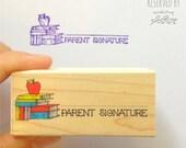 Parent Signature with Apple Rubber Stamp • Teacher Stamp • Classroom Supplies • School Stamp •Signature Stamp • Woodblock Craft Stamp (D323)