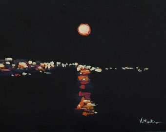 Landscape Painting Original Acrylic Moonlight