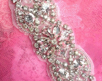 "XR231 Petite Crystal Clear Rhinestone Designer Silver Beaded Applique 3.75"" (XR231-slcr)"
