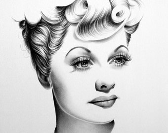 Lucille Ball Original Pencil Drawing Minimalism Fine Art Portrait