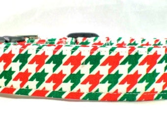 Tis The Season Red Green and White Houndstooth Dog Collar