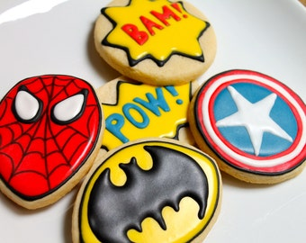 Super Heroes - one dozen cookie favors