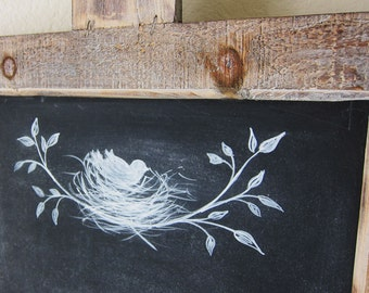 Farmhouse Chalkboard Rustic French Country Hand Painted Bird and Nest Kitchen Message Board
