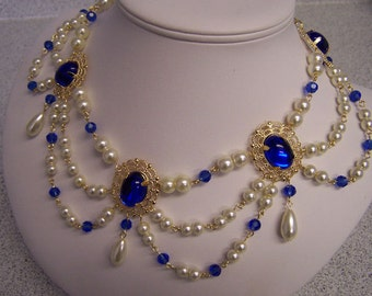 Dark Sapphire and Ivory Pearl Collar Renaissance Tudor Necklace Game of Thrones Jewelry