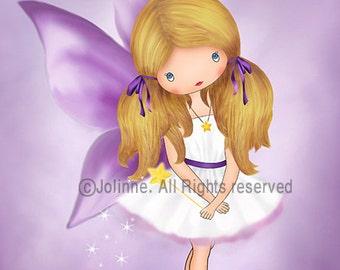 kids wall art, kids art, girls wall art, nursery wall art,art for girls room, fairy art,purple wall art for girls room, illustration,drawing