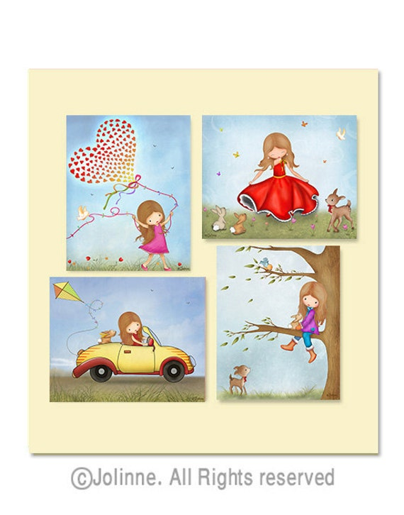 Children room decor, kids art, girls room pictures, nuture, blue, nursery art,