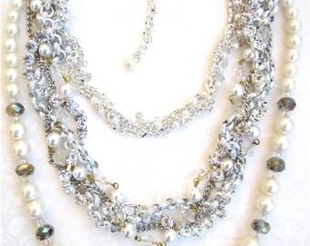 Silver Rhinestone Statement Necklace Pearl Swarovski Crystal Bridal Bib Necklace for Multi Layer - Triple Decker Dream in Silver