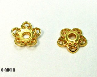 Gold plated flower bead caps, 11mm, 6 pieces