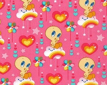 Looney Tunes Tweety Bird on Cloud 9 Nine Fabric with Rainbows and Hearts on Pink