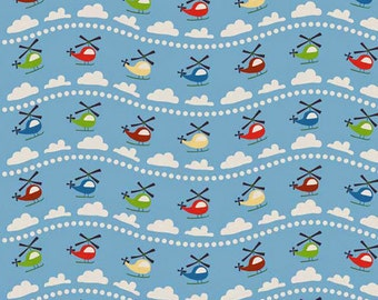 OOP HTF 18 inches Scoot Fabric by Riley Blake Helicopters in The Clouds Striped Multicolored Helicopters Clouds and Dots on Light Blue